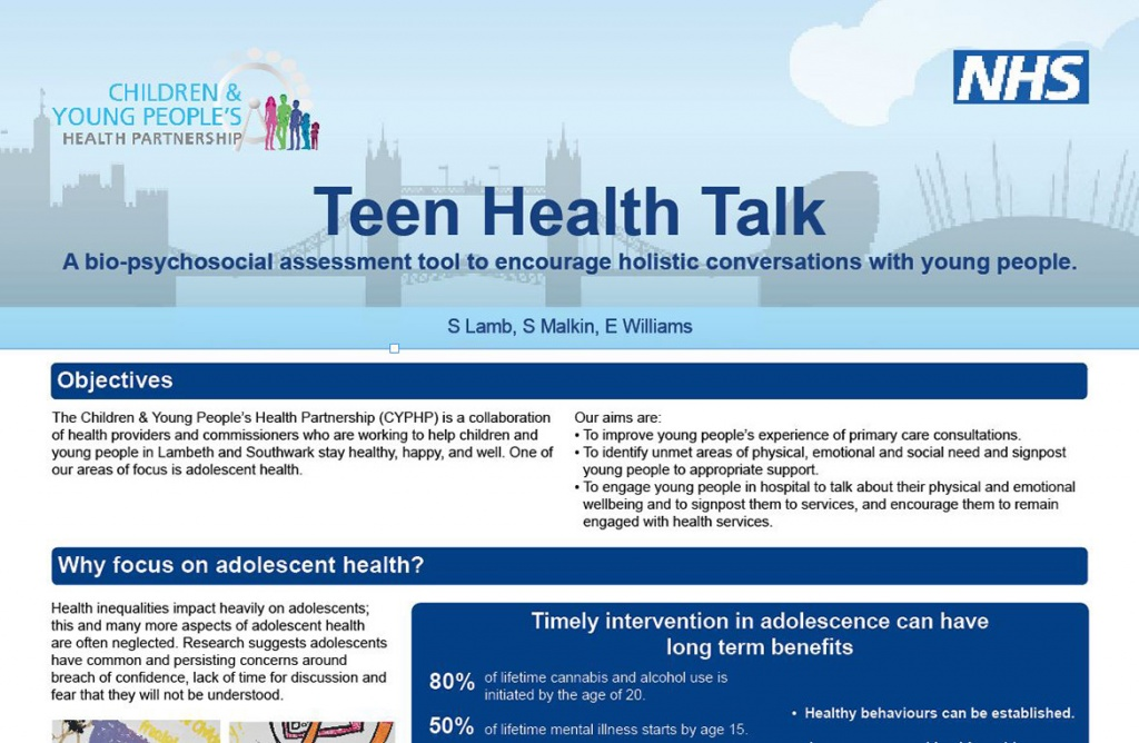Teen Health Talk conference poster